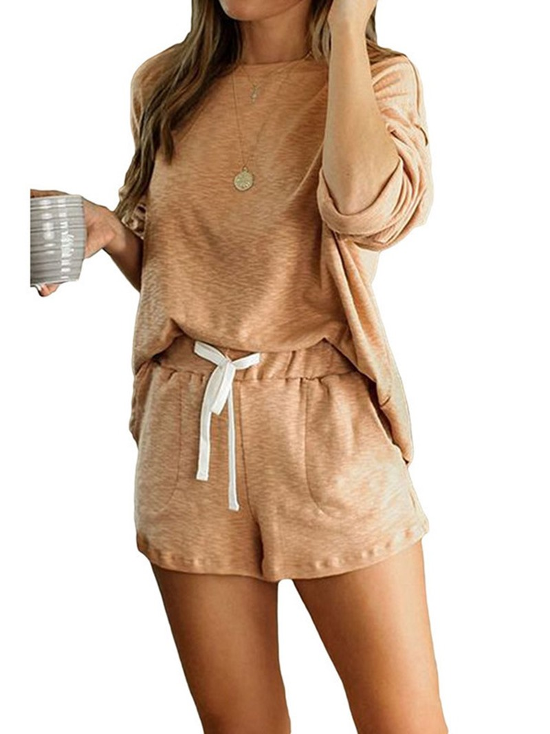 Ericdress Lace-Up Plain Simple Sleep Bottom Pullover Pajama Suit