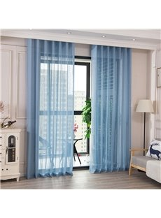 Blue Solid Sheer Curtains 2 Panels Grommet Top