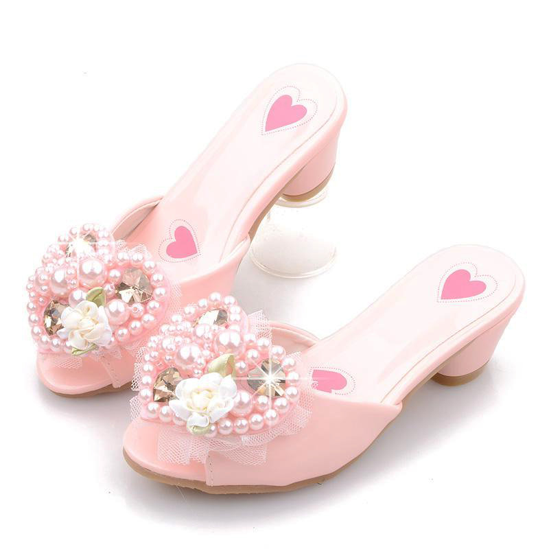 Girls Heart-shaped Pearls Floral Decor Slip On Princess Slippers