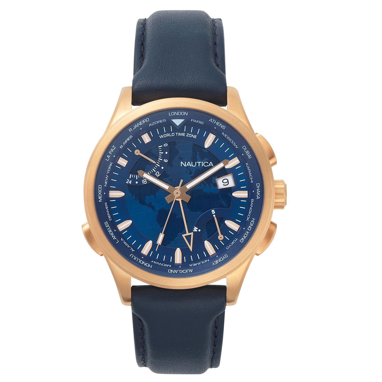 Nautica Watch NAPSHG002 Shanghai, Analog, Water Resistant, Date Display, 24 Hour Indicator, World Time Zone, Blue Leather Band, Blue