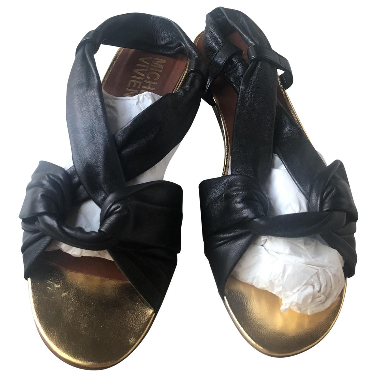 Michel Vivien \N Black Leather Sandals for Women 35 EU