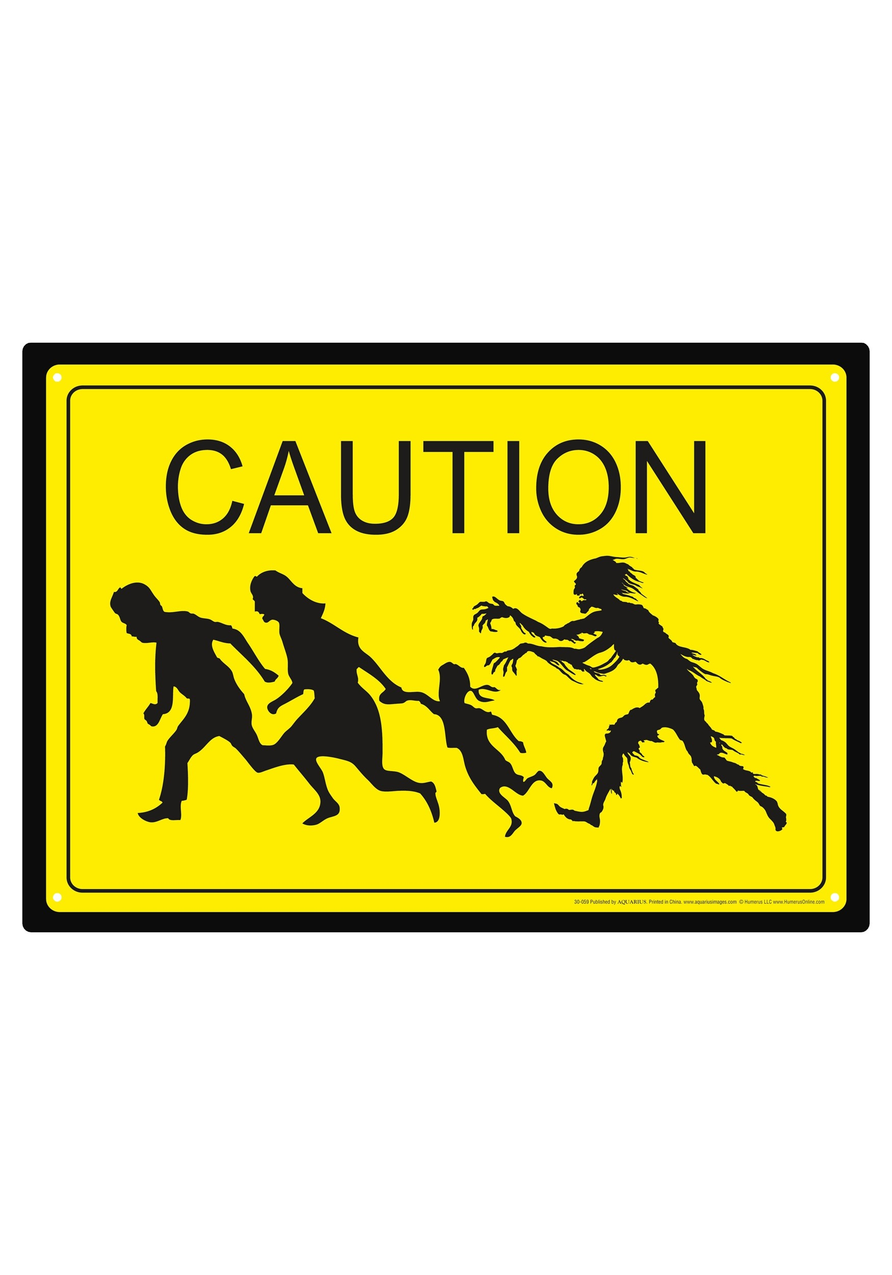 Yellow Caution Zombies Tin Sign