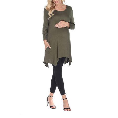 White Mark-Plus Maternity Kayla Womens Scoop Neck 3/4 Sleeve Tunic Top, 5x , Green
