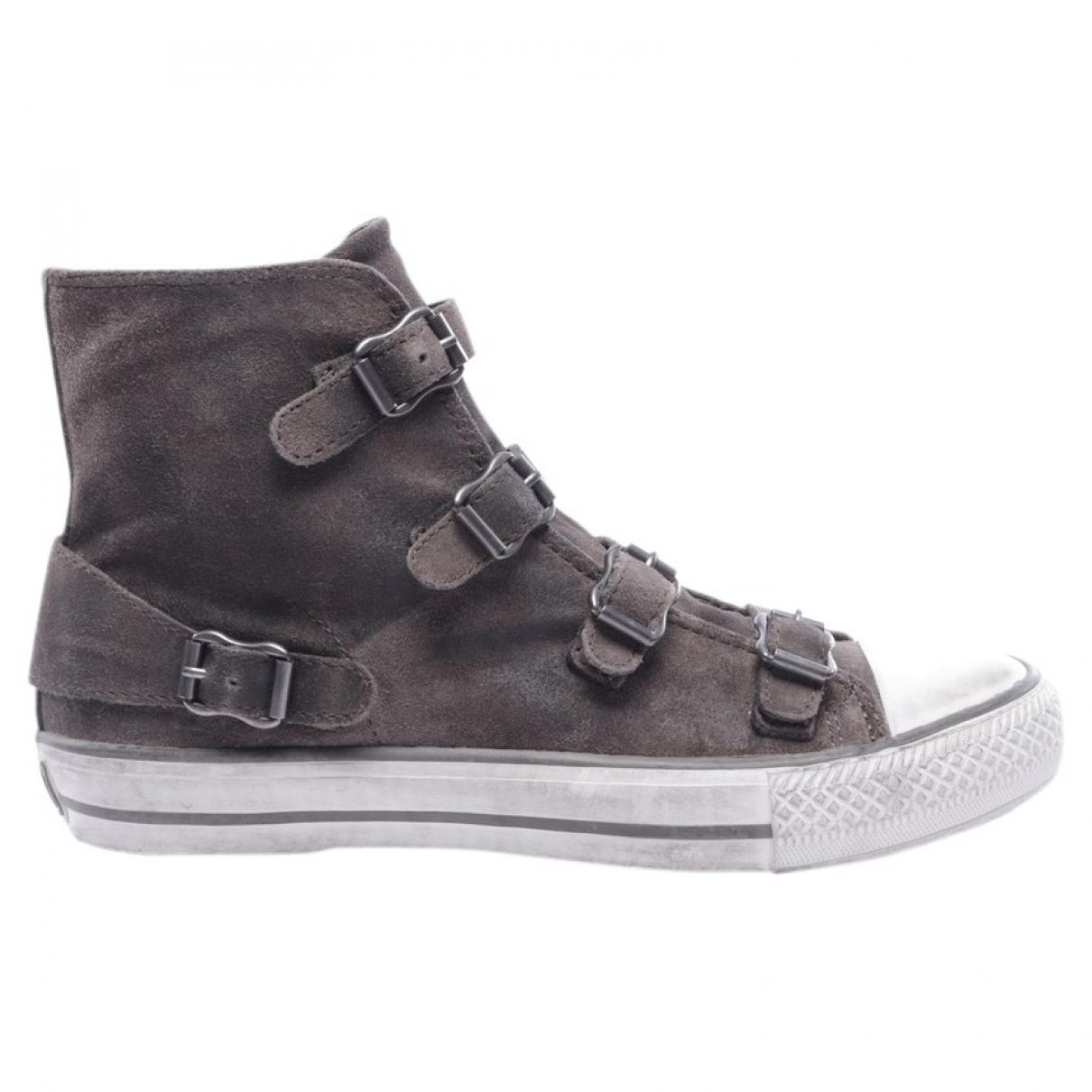 Ash \N Brown Leather Flats for Women 39.5 EU