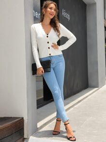 Kate Kasin Button Front Rib-knit Cardigan