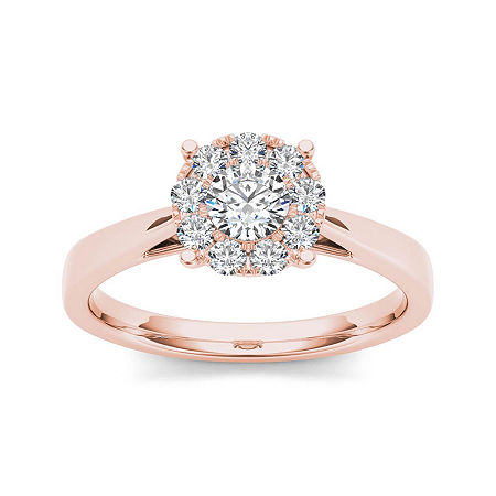 1/2 CT. T.W. Diamond 10K Rose Gold Engagement Ring, 8 , No Color Family