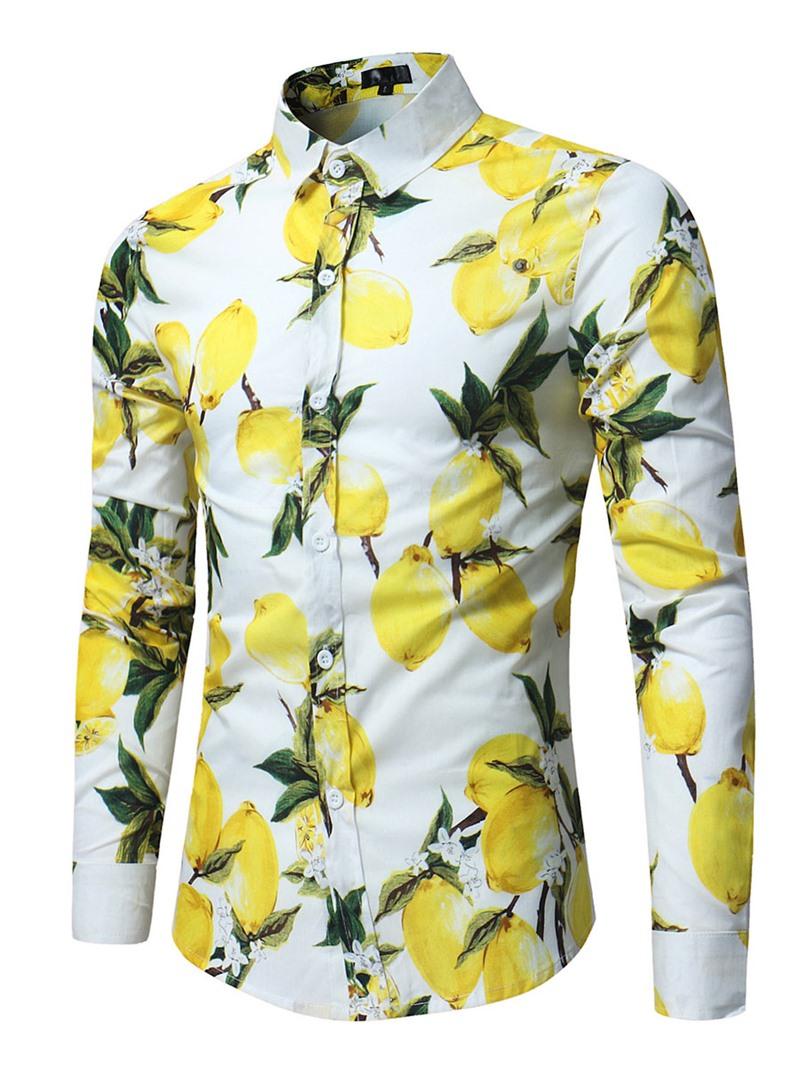 Ericdress Floral Print Lapel Slim Men's Cotton Shirt