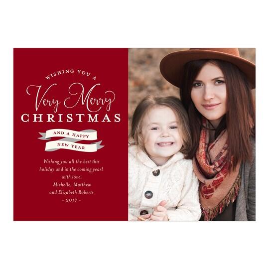 Gartner Studios® Personalized Banner Year Christmas Flat Photo Card | Michaels®
