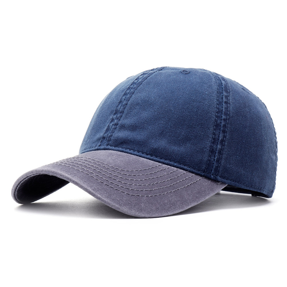 Unisex Washed Denim Baseball Hats Patchwork Two Tone Low Profile Six Panel Adjustable Vintage Hat