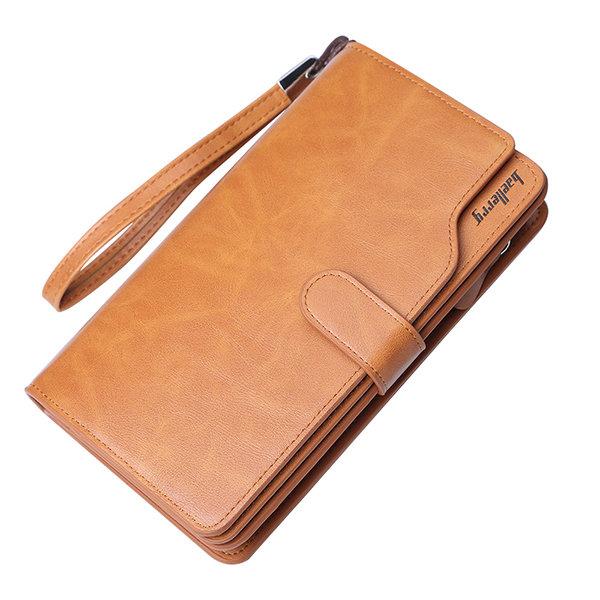 Vintage Large Capacity Business Multi-slots Trifold Long Wallet Clutch Bag For Men