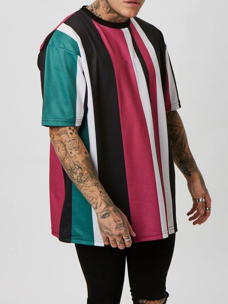 Ericdress Round Neck Sports Stripe Pullover Short Sleeve T-shirt