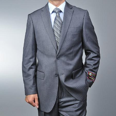 2 Button Grey Pinstripe Suit Mens Cheap