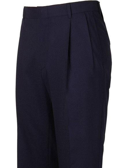 Mens Stylish Pleated Navy Atticus Classic Fit Wool Pant