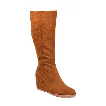 Journee Collection Womens Parker Wide Calf Wedge Heel Zip Dress Boots, 7 1/2 Medium, Brown