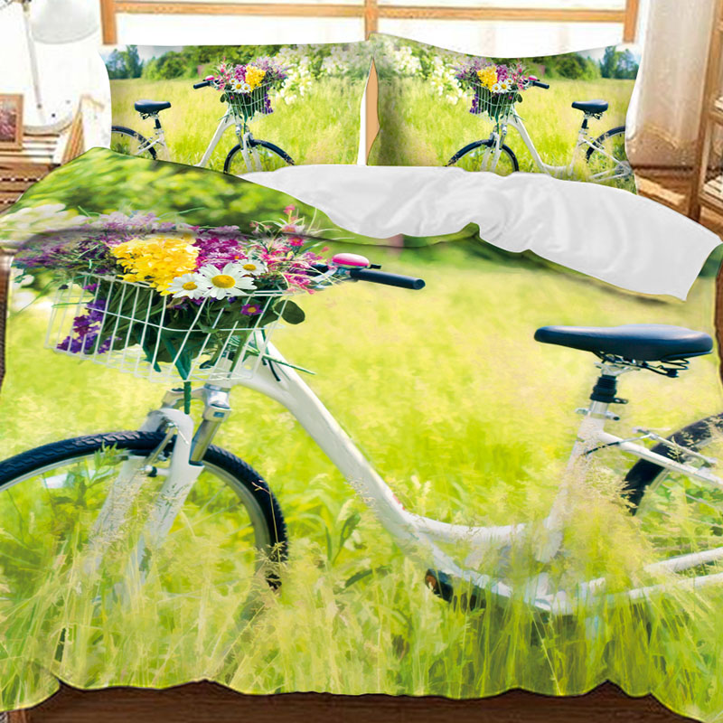 White Bike In The Grass Printed Polyester 3-Piece Bedding Sets/Duvet Covers