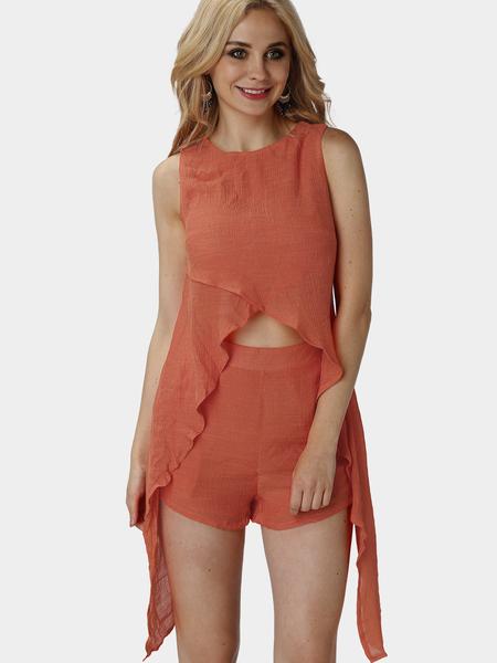 Yoins Orange Sleeveless Convertible Two Piece Outfits