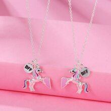 2pcs Toddler Girls Unicorn Charm Necklace