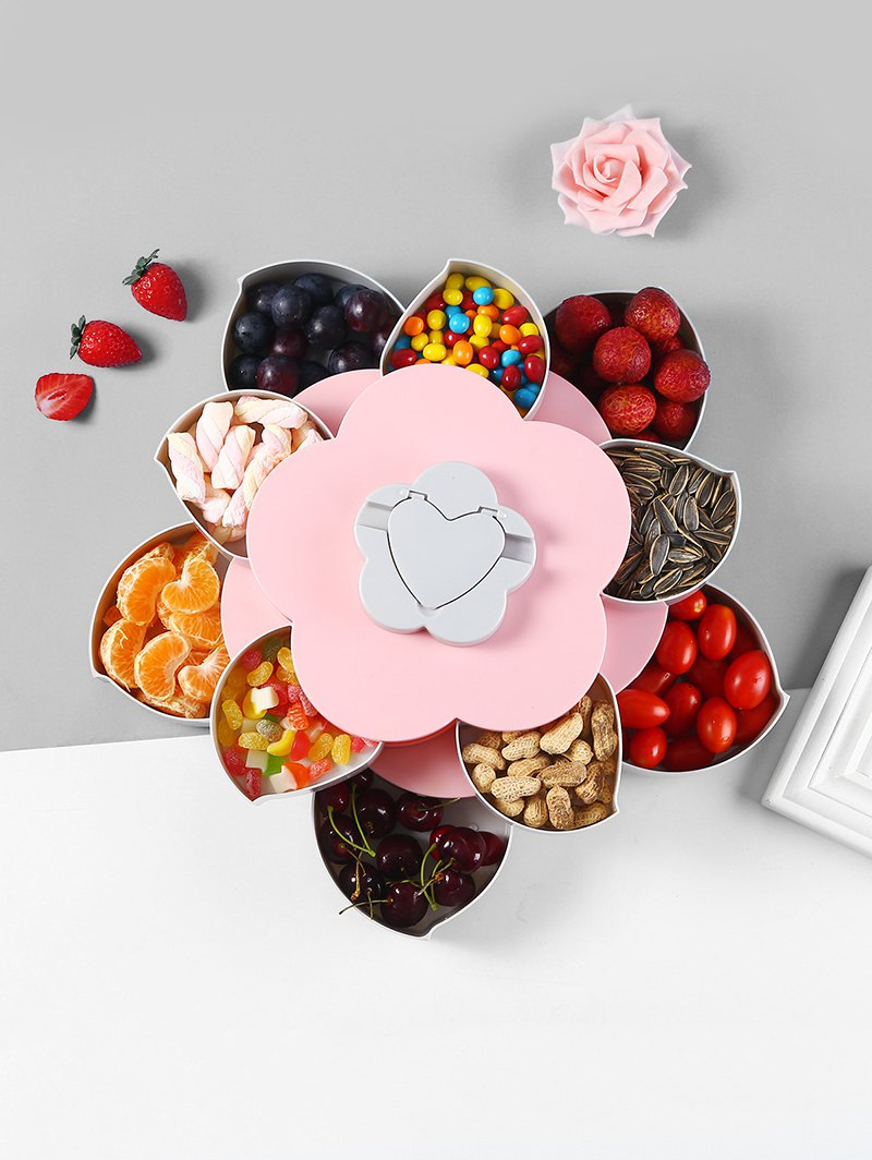 Flower Shape Rotating Snack Containers Candy Storage Box