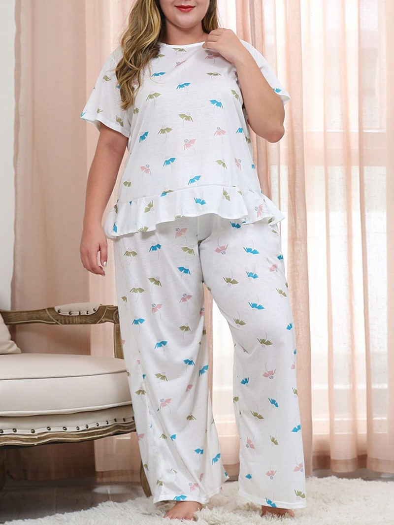 Ericdress Polyester Print Simple Sleep Top Pullover Pajama Suit