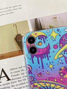 Swirl & Planet Print iPhone Case