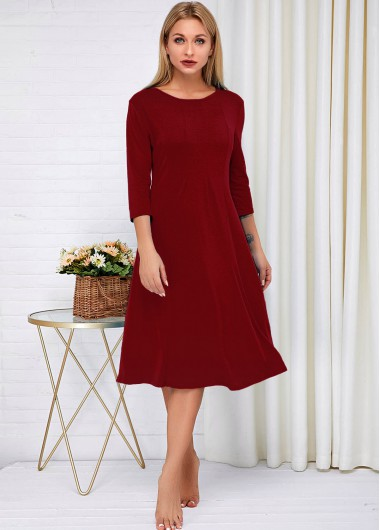 Cocktail Party Dress Round Neck Three Quarter Sleeve Wine Red Dress - XL