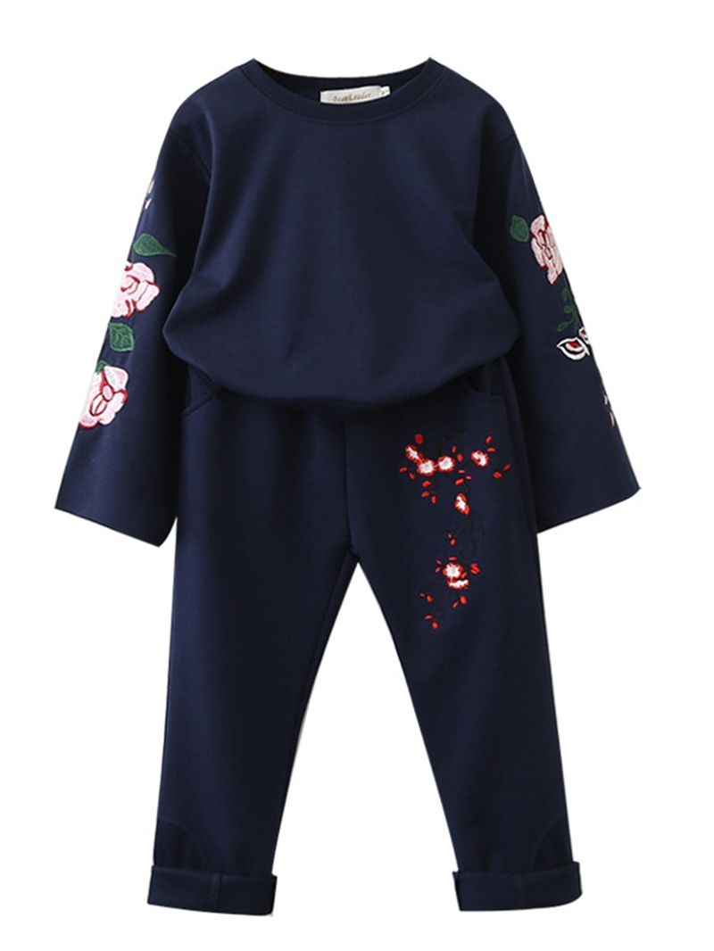 Ericdress Flower Embroidery Girl's 2-Pcs Outfit