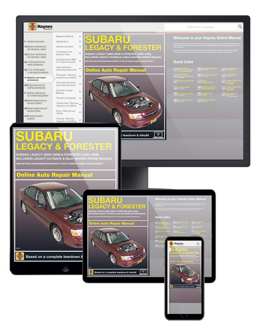 Subaru Legacy and Forester (00-09) Haynes Online Manual (Including Outback and Baja)