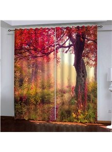 2 Panels Blackout Room Darkening Curtains Curtains 3D Scenery Autumn Season Red Maple Leaves Print 200g ㎡ Medium Polyester Good Shading Effect and Ant