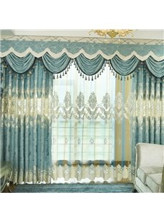 High Quality European Elegant Embroidered Soft Texture Stereo Clipping Sheer Curtains