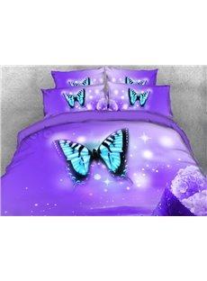 Vivilinen Light Blue Butterfly Printed 4-Piece Purple 3D Bedding Sets/Duvet Covers