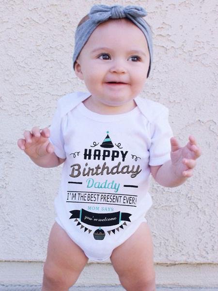 Milanoo Happy Birthday Daddy Bodysuit Babay Infant Toddler Cotton Onesie