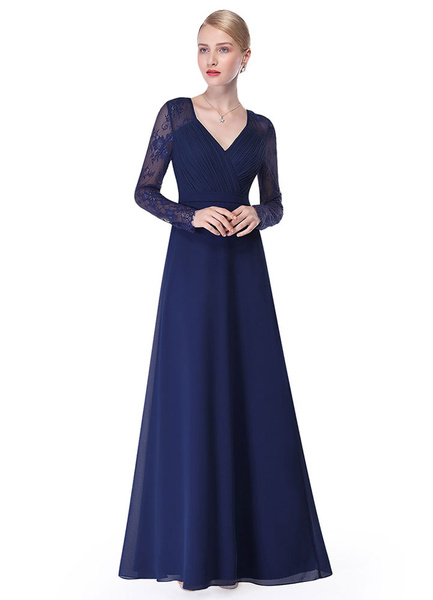 Milanoo V Neck Evening Dress Illusion Lace Sleeve Mother Of The Bride Dress Ruched A Line Floor Length Wedding Party Dress In Dark Navy wedding guest
