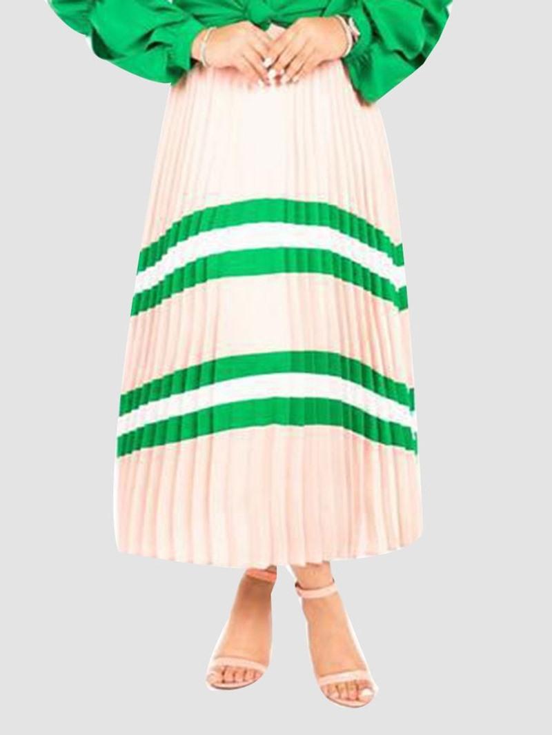 Ericdress Pleated Stripe Mid-Calf Elastic Waist Skirt