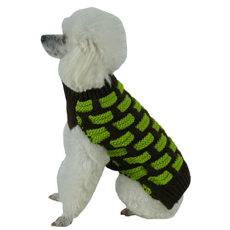 The Pet Life Fashion Weaved Heavy Knit Designer Ribbed Turtle Neck Dog Sweater, One Size , Brown