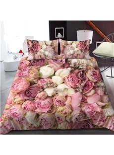 Romantic Pink Roses 3D Printed Polyester 1-Piece Warm Quilt