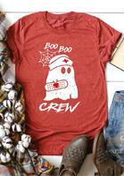 Halloween Boo Boo Ghost Crew T-Shirt Tee - Brick Red
