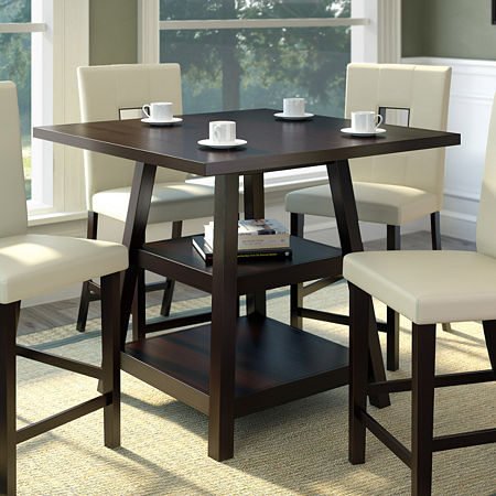 Bistro Counter Height Dining Table with Shelves, One Size , Brown