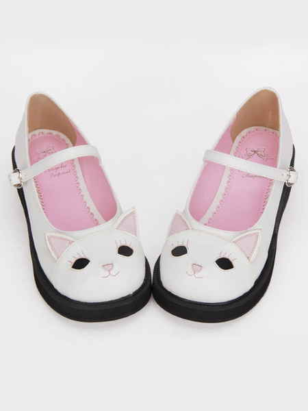 Milanoo Sweet Lolita Shoes White Kitty Cute Mary Jane Lolita Paltform Shoes