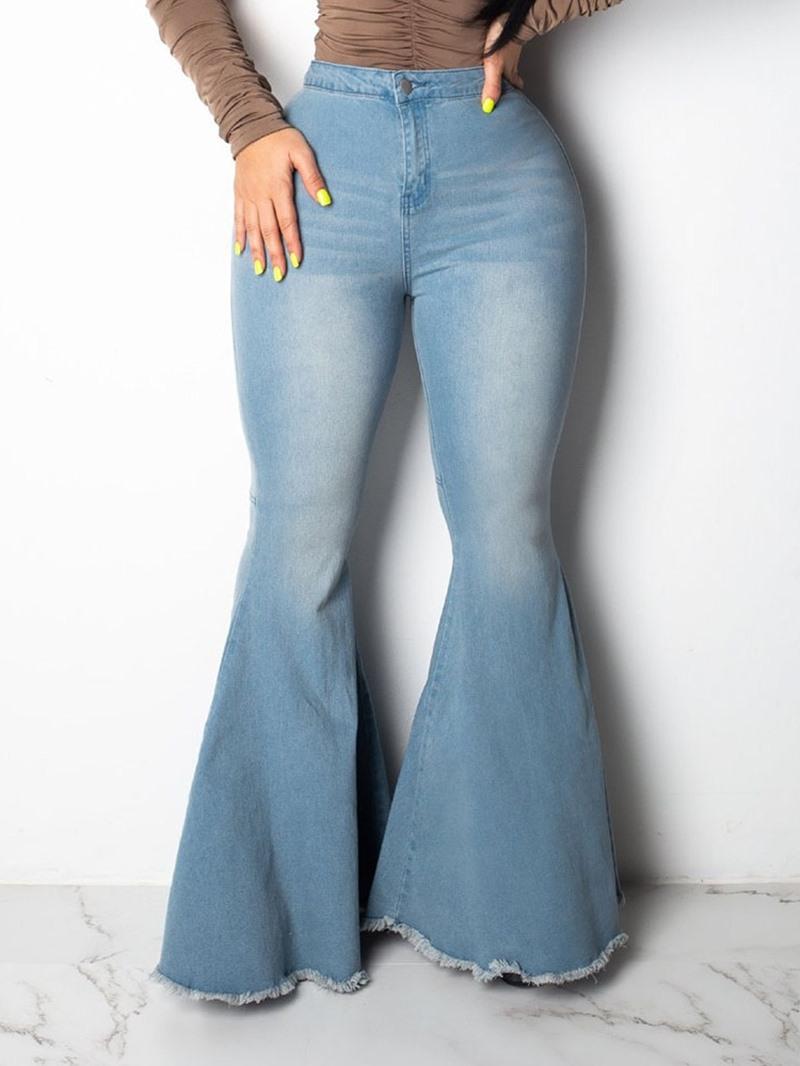Ericdress Flare Plain Slim Tassel Mid Waist Jeans