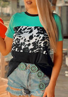 Cow Color Block T-Shirt Tee - Green