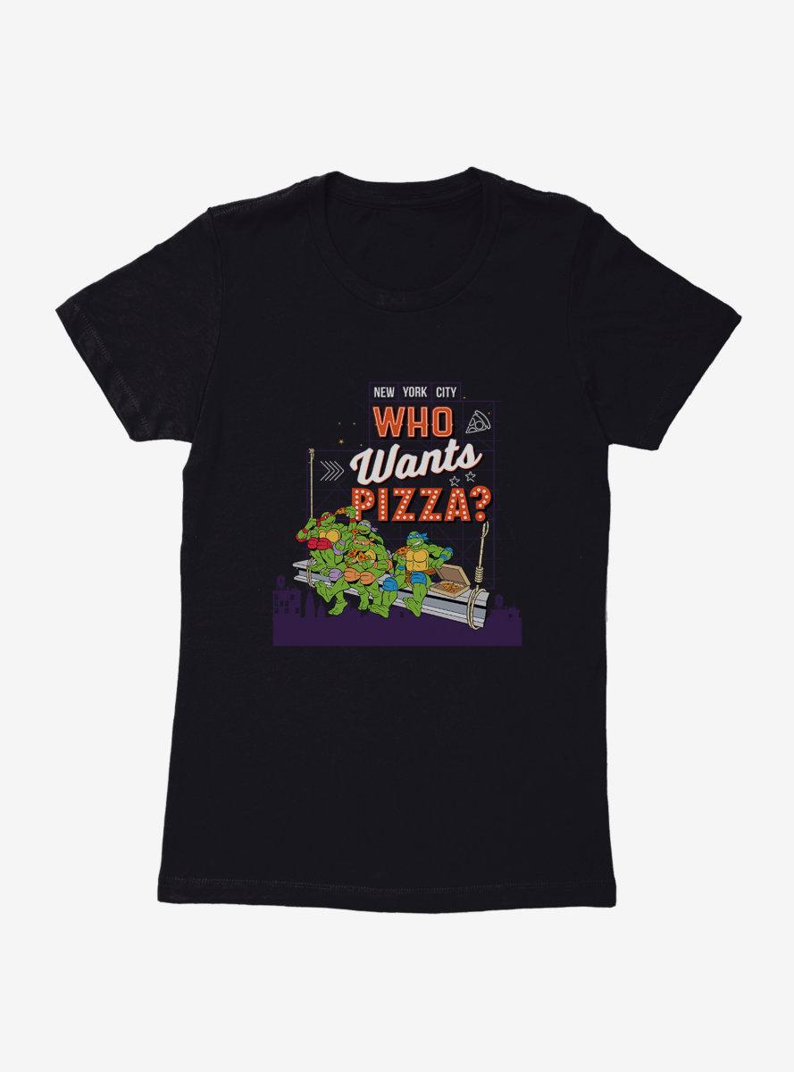 Teenage Mutant Ninja Turtles Pizza Neon Sign Womens T-Shirt