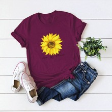 Plus Sunflower And Letter Graphic Tee
