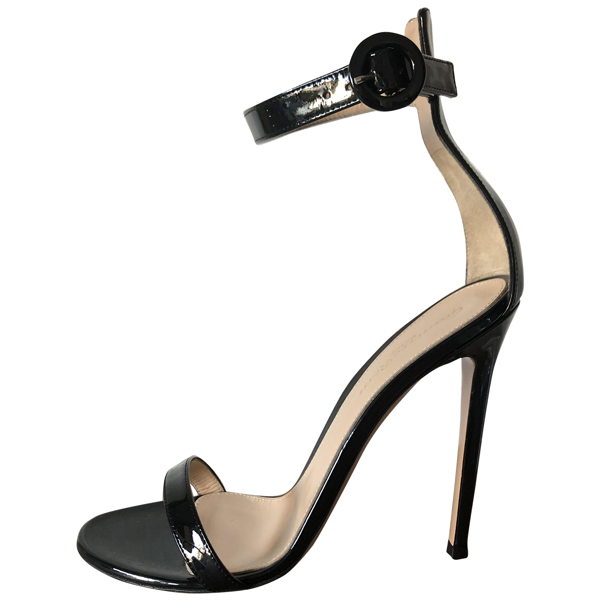 Gianvito Rossi Portofino Black Patent leather Sandals for Women 38 EU