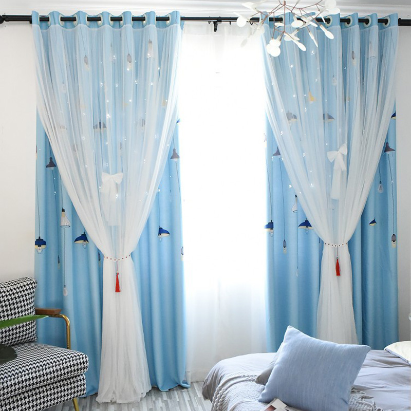 Princess Style Star Hollowed-out Blackout Window Curtains Cloth and Sheer Sewing Together Custom Cartoon Drapes for Living Room Bedroom