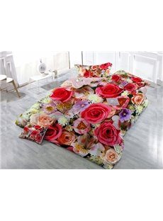 Colorful Roses Wear-resistant Breathable High Quality 60s Cotton 4-Piece 3D Bedding Sets