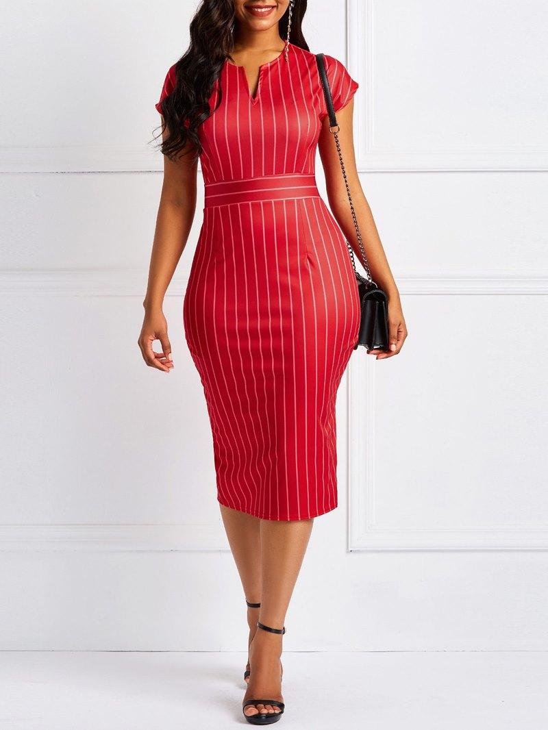 Ericdress Bodycon Stripe Cap Sleeve Dresses