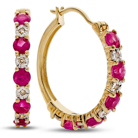 Diamond Accent Lead Glass-Filled Red Ruby 10K Gold 16.5mm Hoop Earrings, One Size , No Color Family