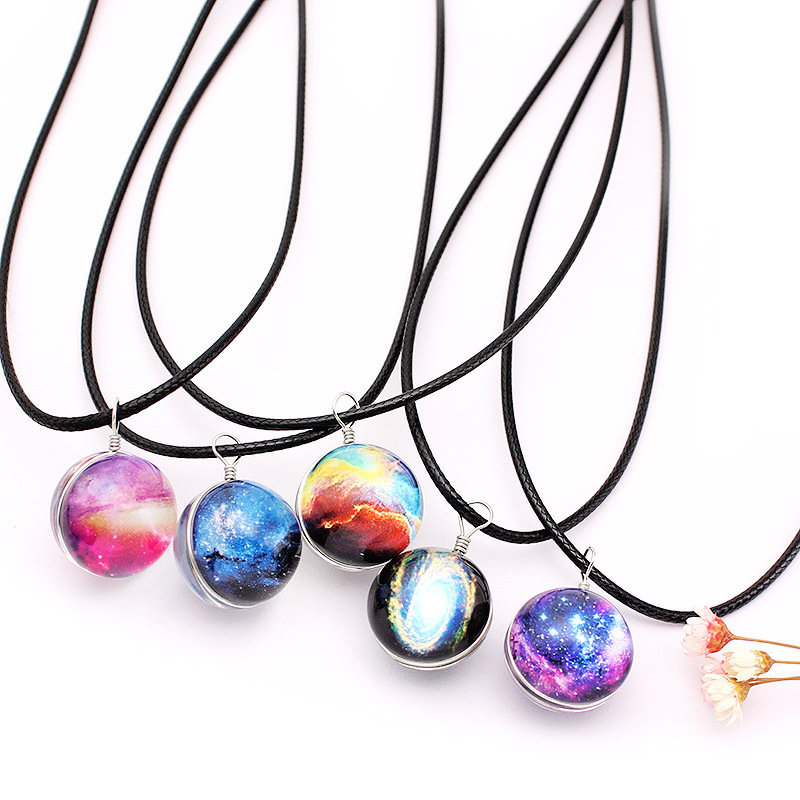 Fashion Galaxy Planet Star Glass Wishing Ball Pendant Necklace for Women Christmas Gift