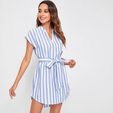 Notched Neck Self Belt Striped Dress