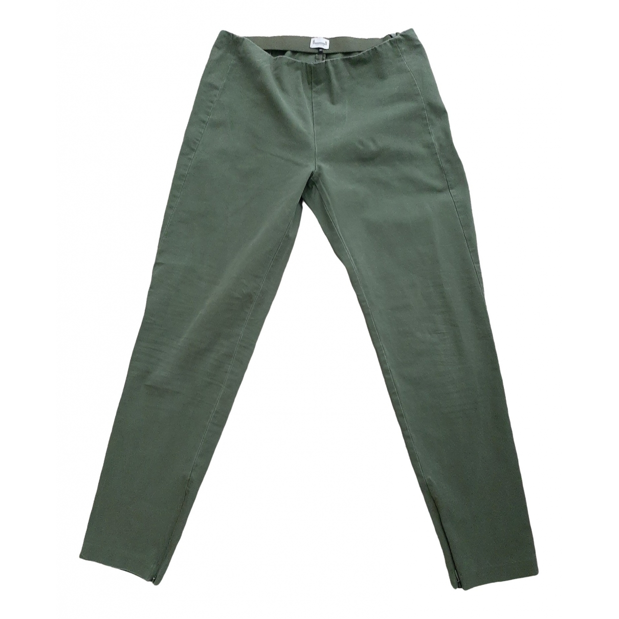 Adolfo Dominguez \N Green Cotton Trousers for Women 40 FR